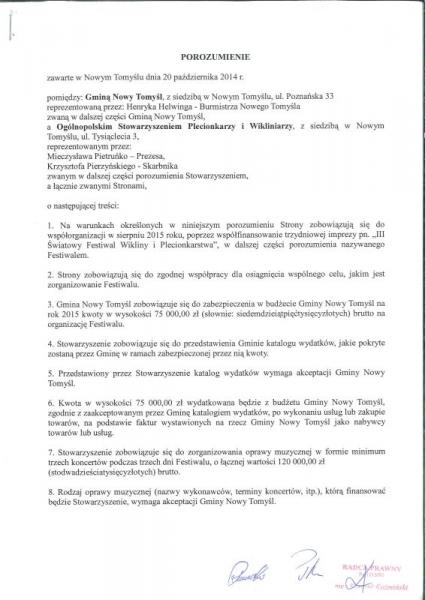 Informacja Burmistrza w sprawie dofinansowania III Światowego Festiwalu Wikliny i Plecionkarstwa