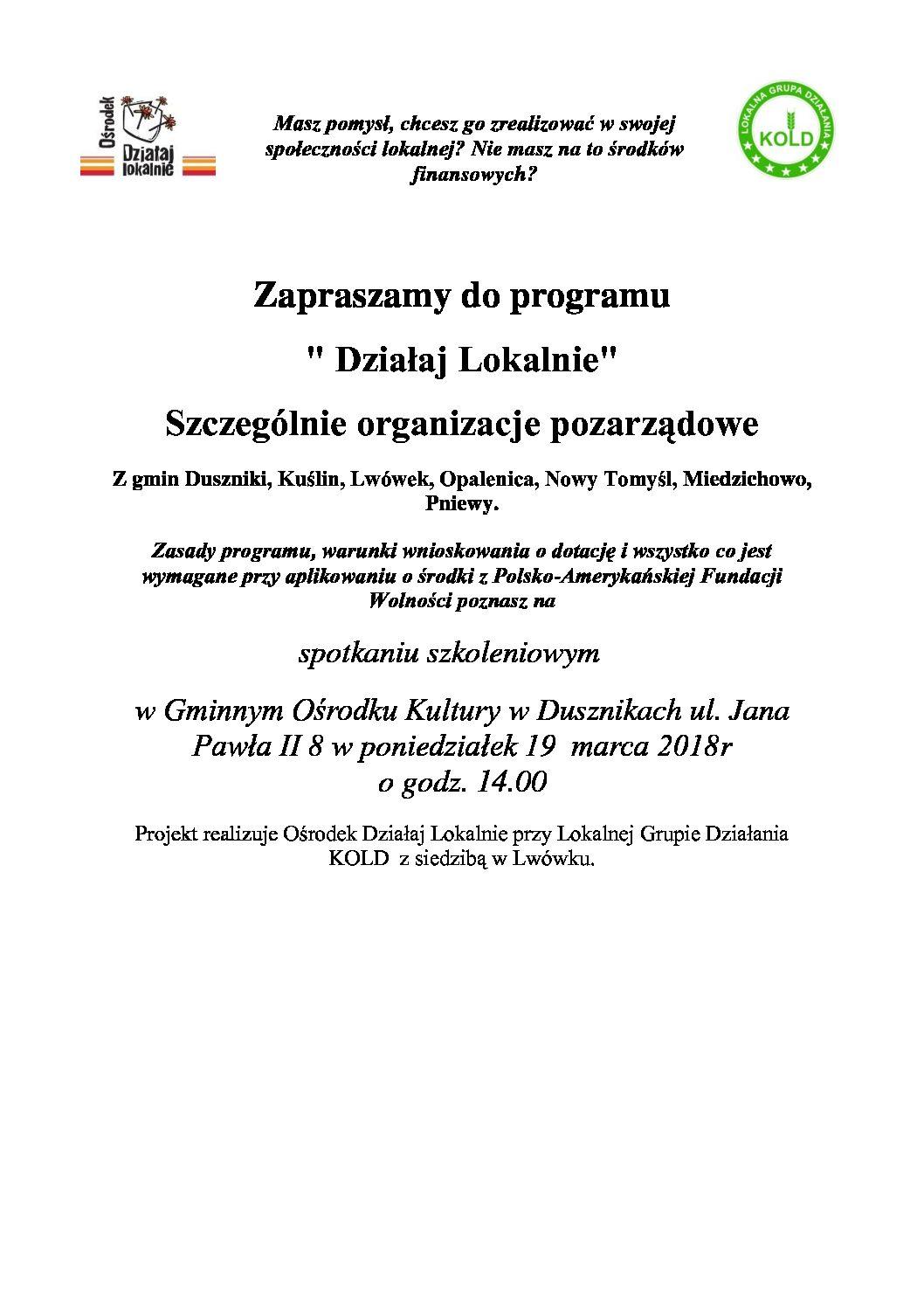 Zaproszenie na spotkanie szkoleniowe