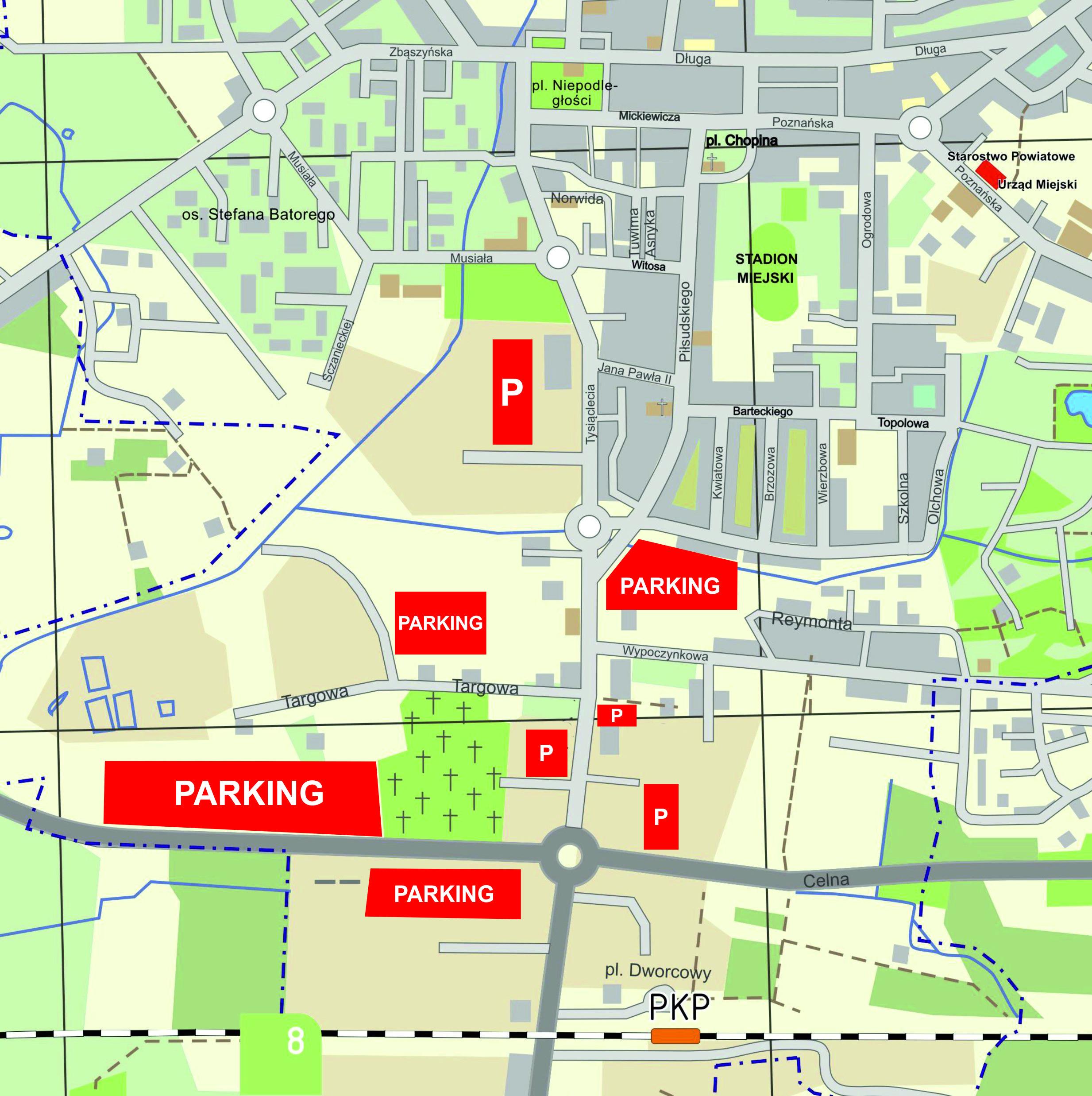 Dostępne parkingi w dniu 1 listopada br.