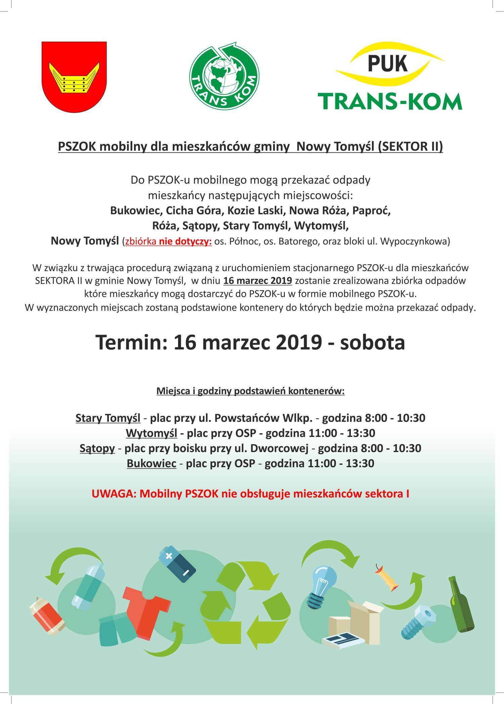 PSZOK mobilny dla mieszkańców gminy Nowy Tomyśl (SEKTOR II)