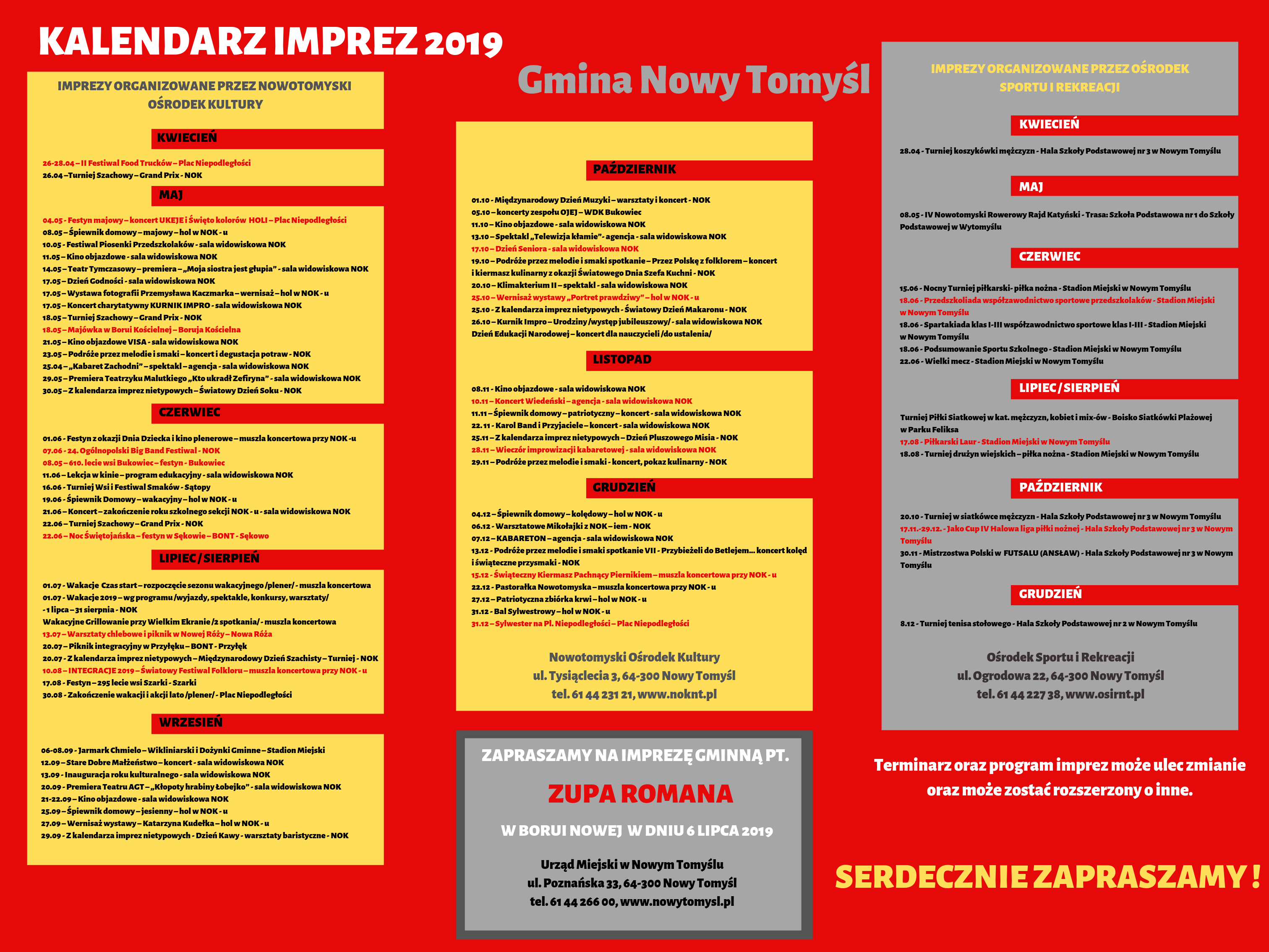 Kalendarz imprez organizowanych w 2019 roku