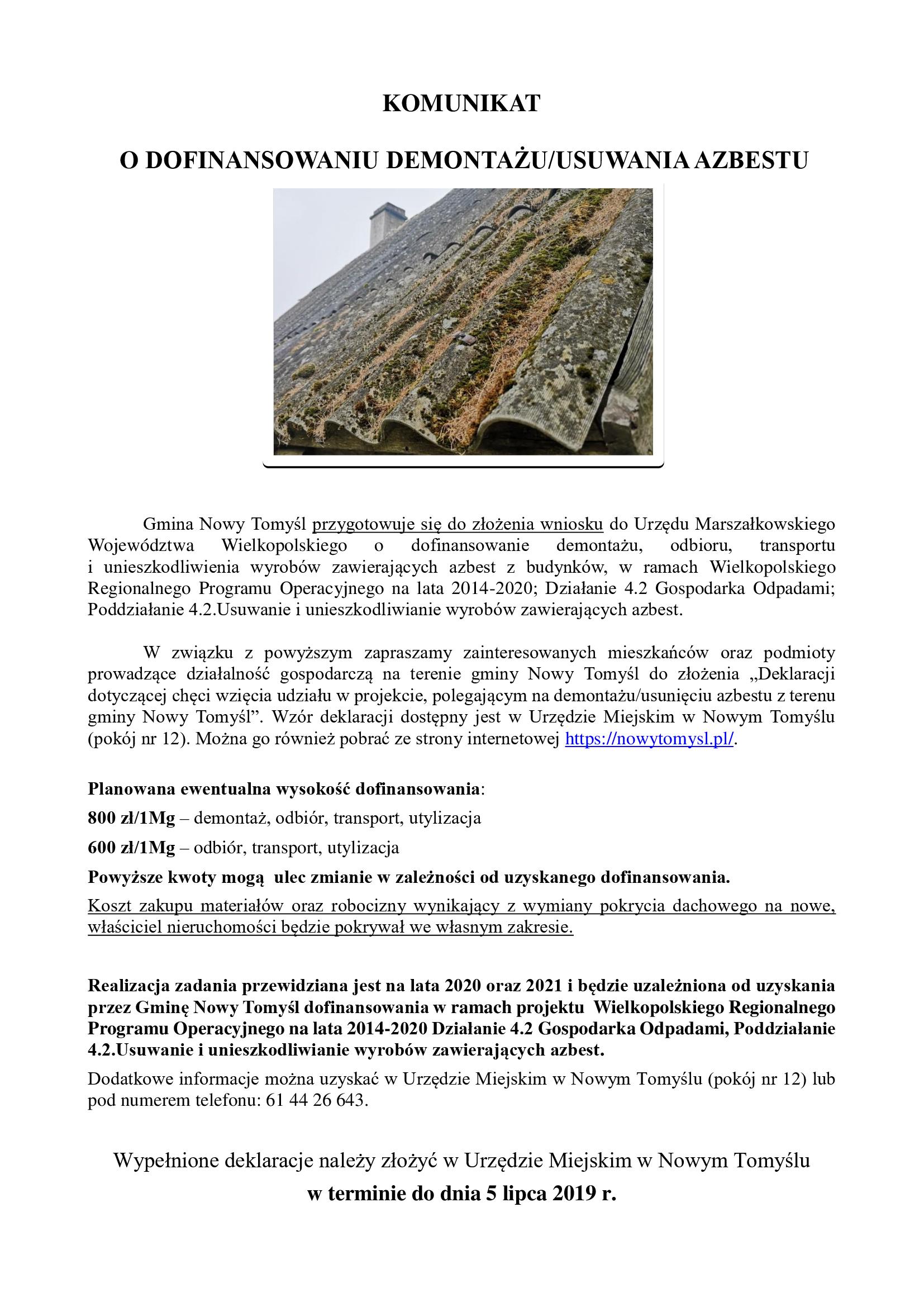 Dofinansowanie demontażu/usuwania azbestu