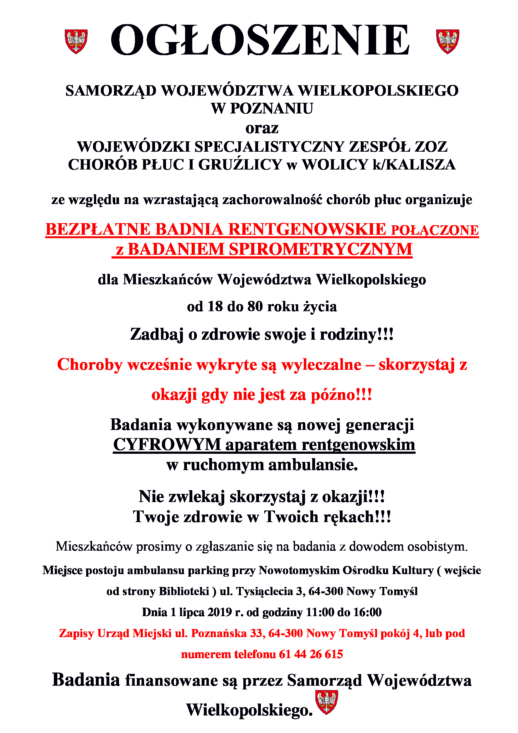 Ogłoszenie o bezpłatnych badaniach