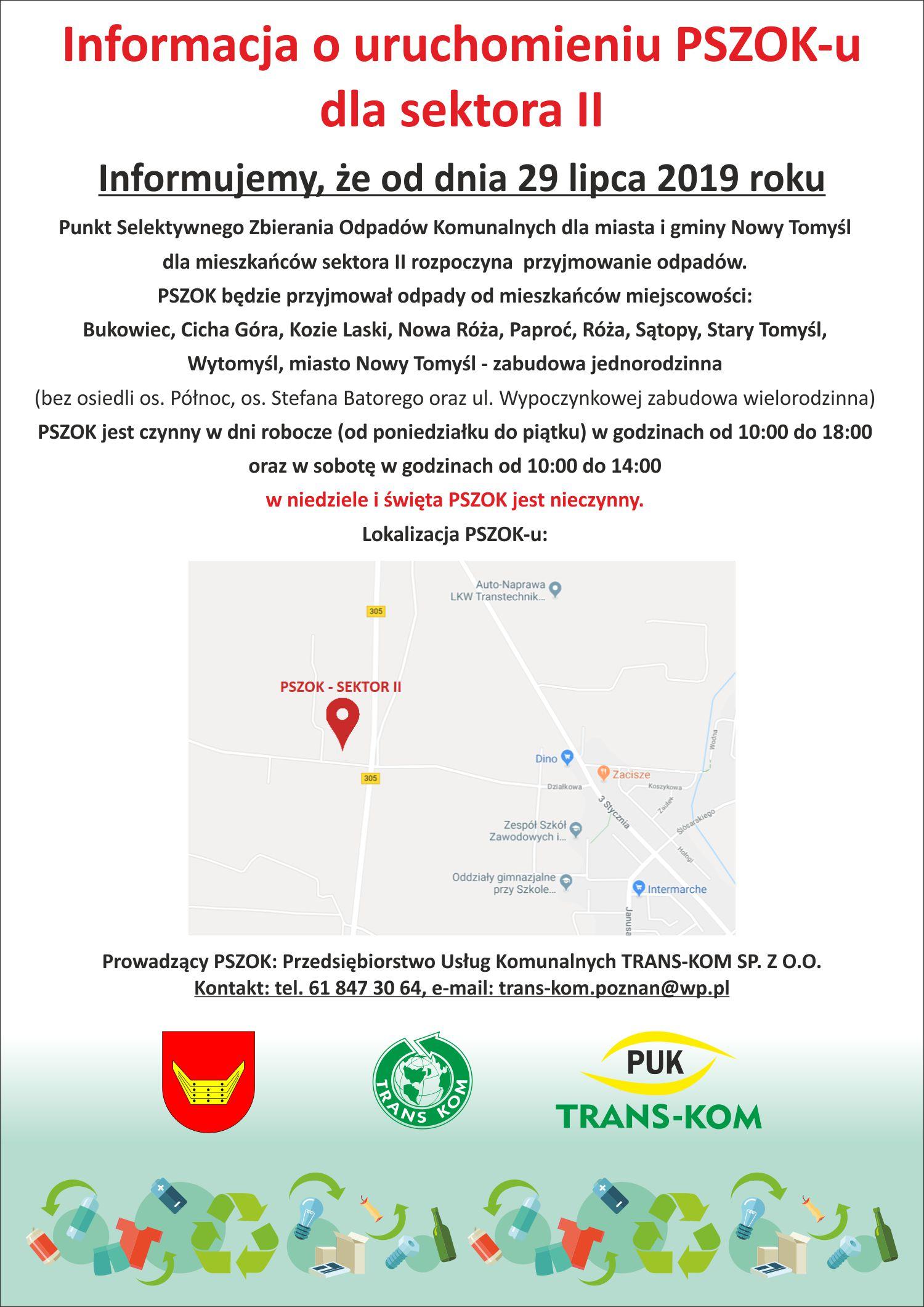 Informacja o uruchomieniu PSZOK-u dla sektora II