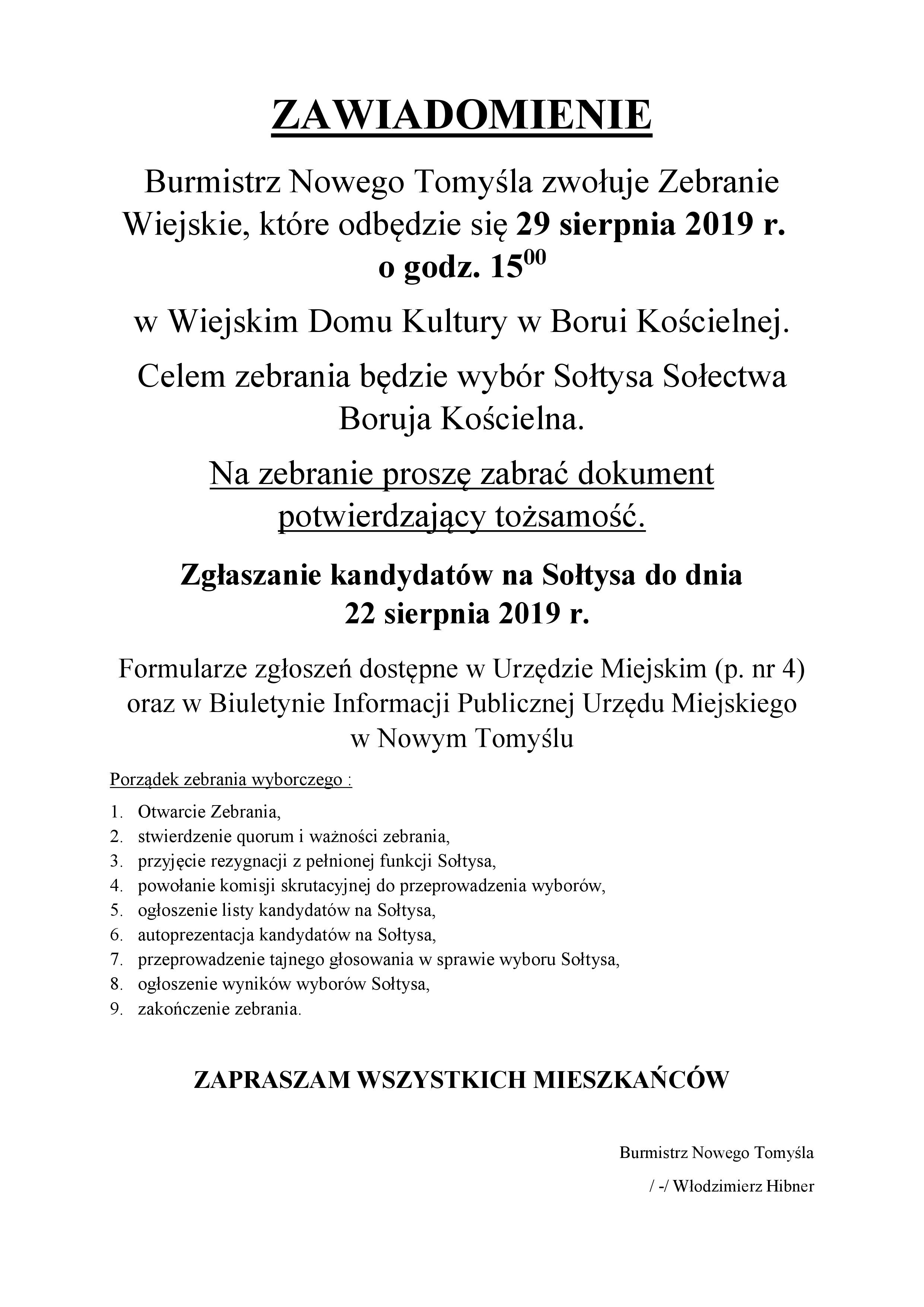 Zawiadomienie o wyborach sołtysa Borui Kościelnej
