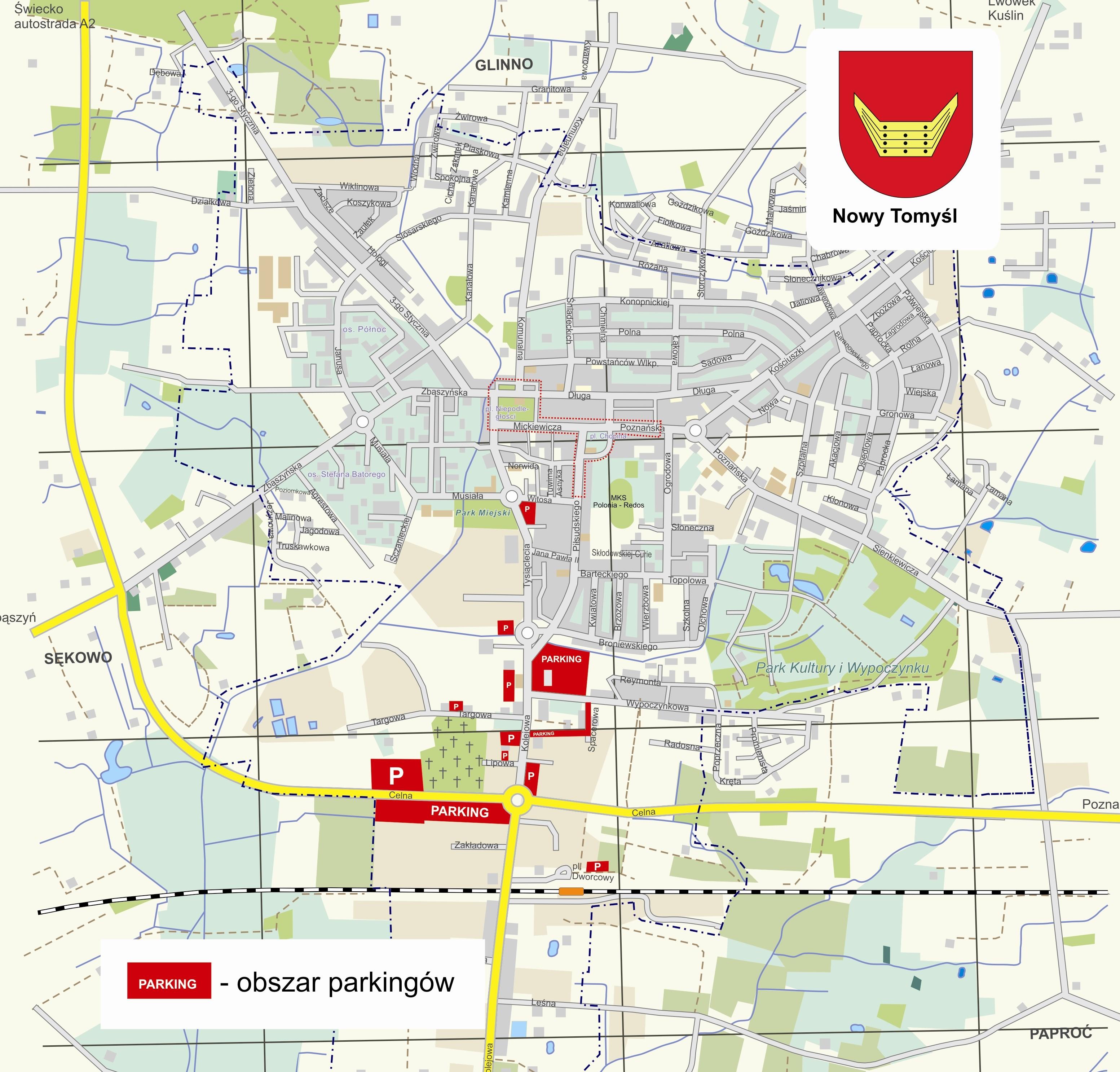 Mapa parkingów dostępnych w dniu 1.11.2019 r.