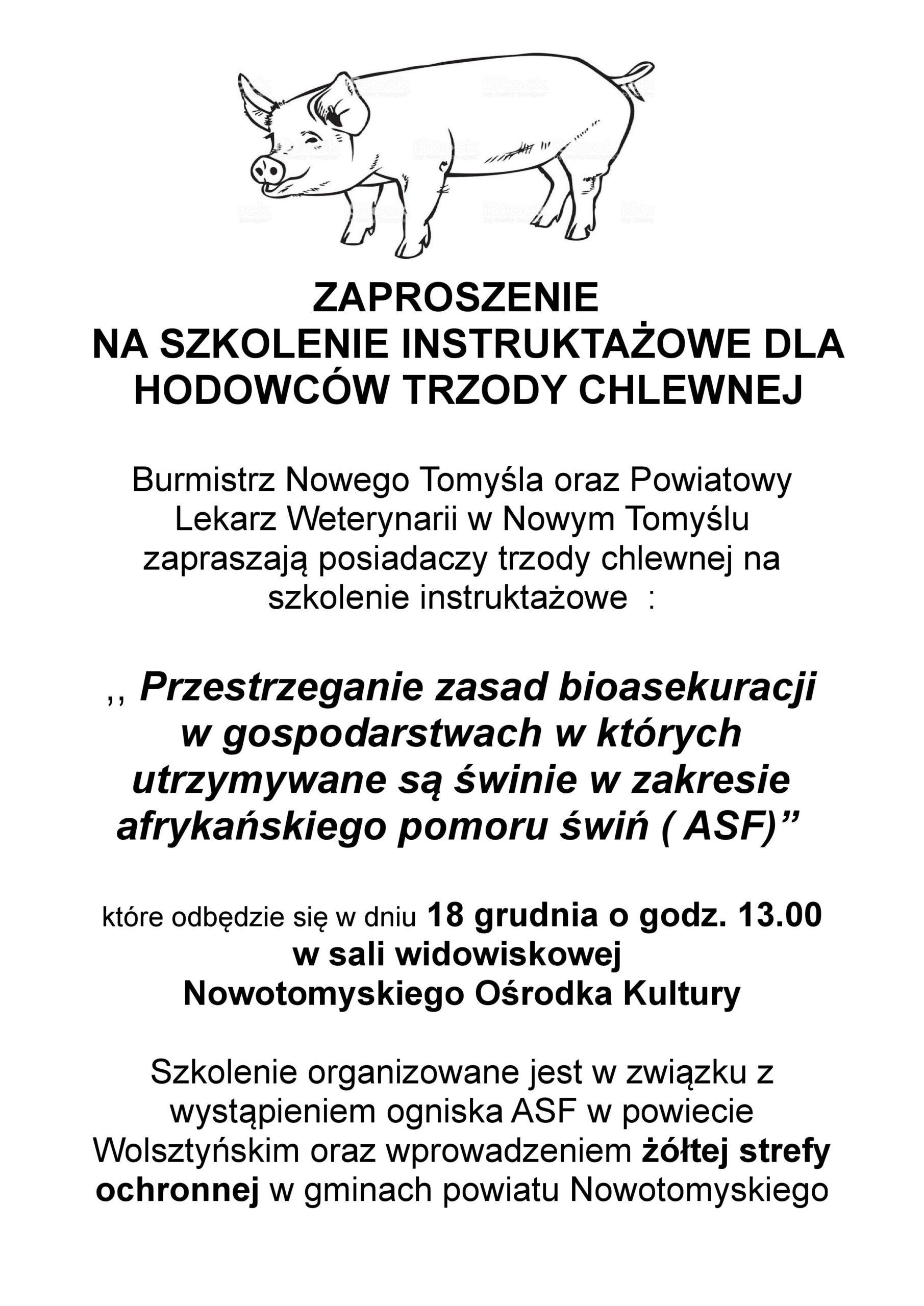 Zaproszenie na szkolenie instruktażowe dla hodowców trzody chlewnej