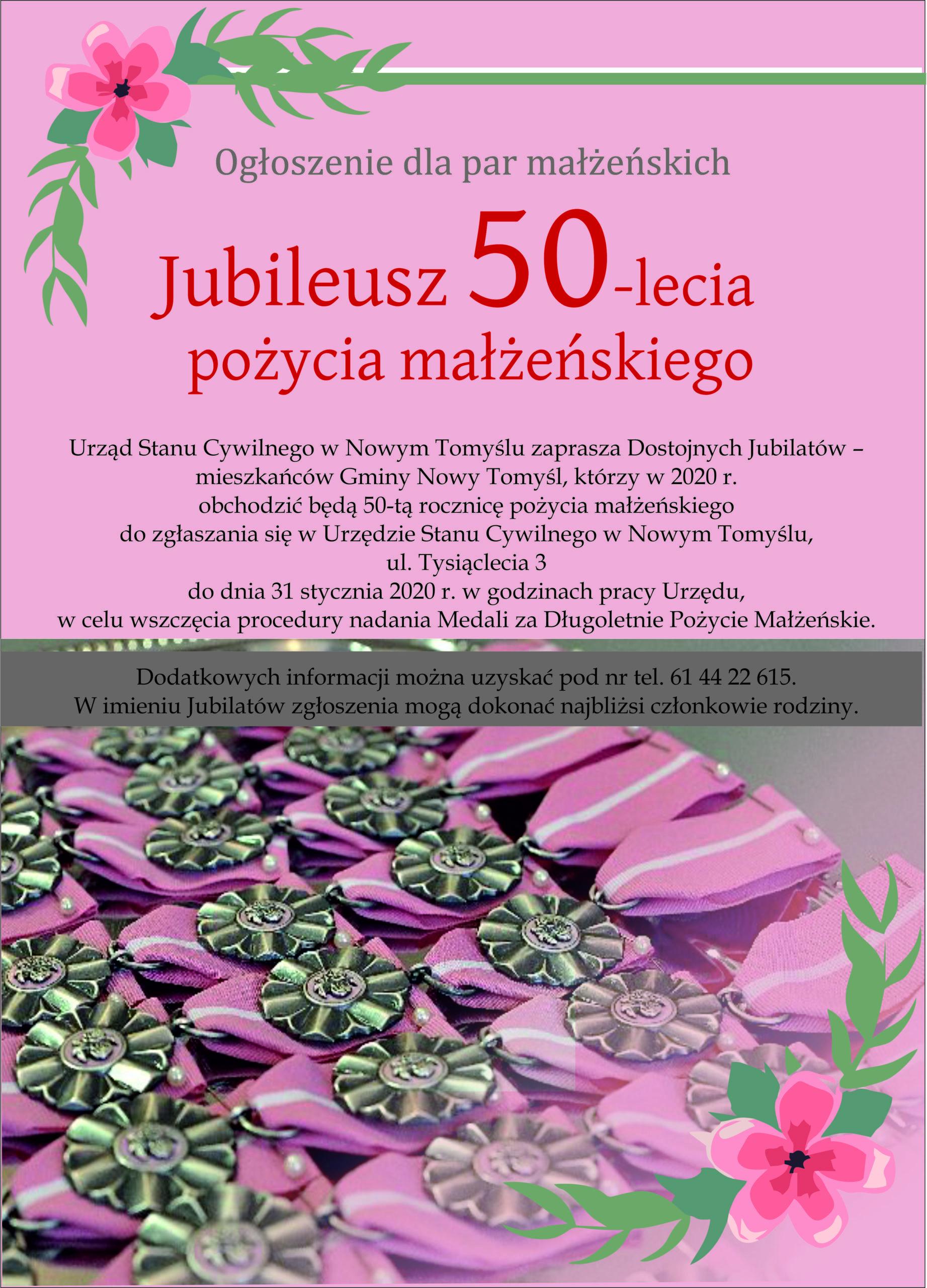 Informacja dla Par obchodzących w 2020 roku Jubileusz 50-lecia pożycia małżeńskiego