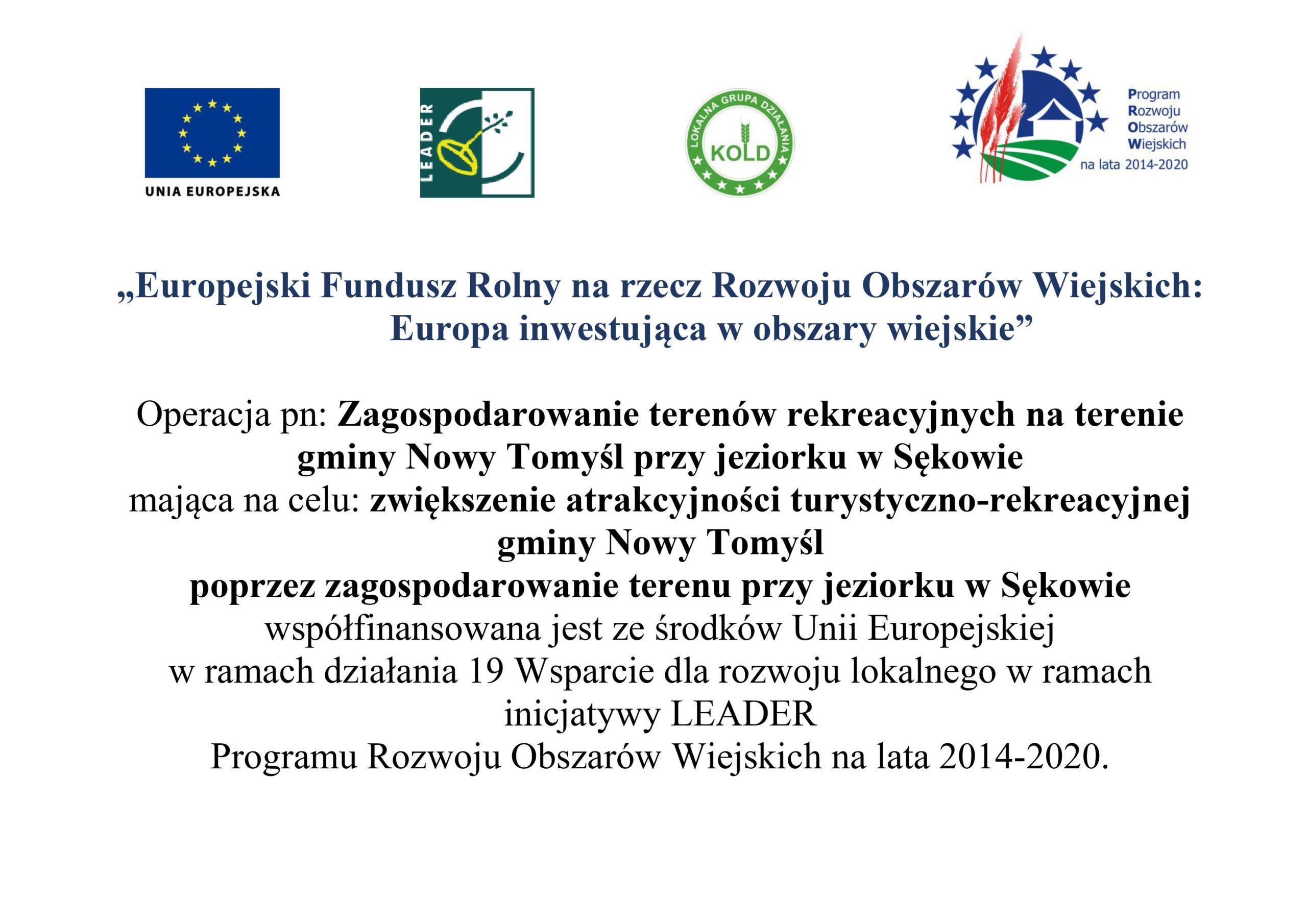 Zagospodarowanie terenów rekreacyjnych na terenie gminy Nowy Tomyśl przy jeziorku w Sękowie