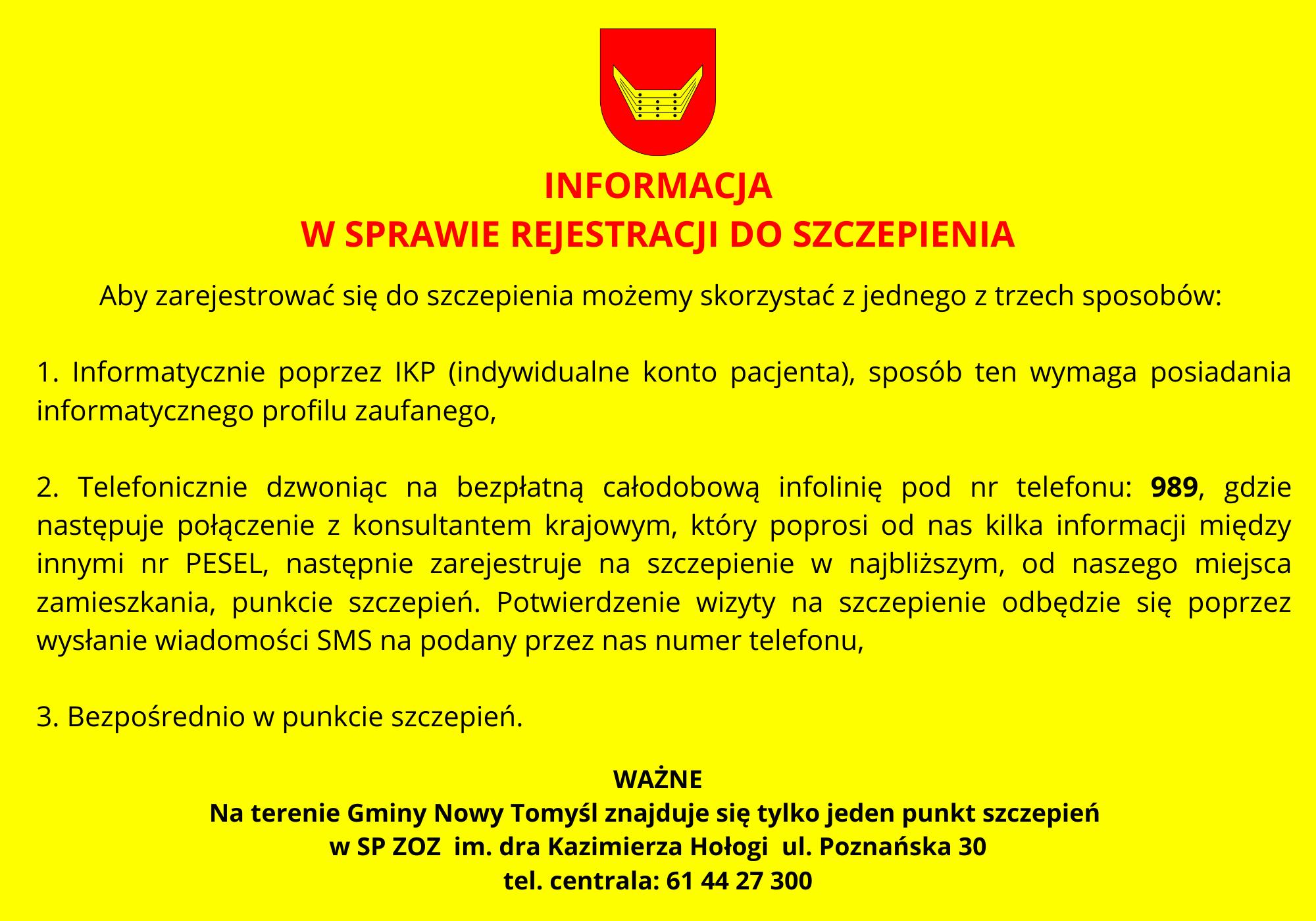 Informacja w sprawie rejestracji do szczepienia