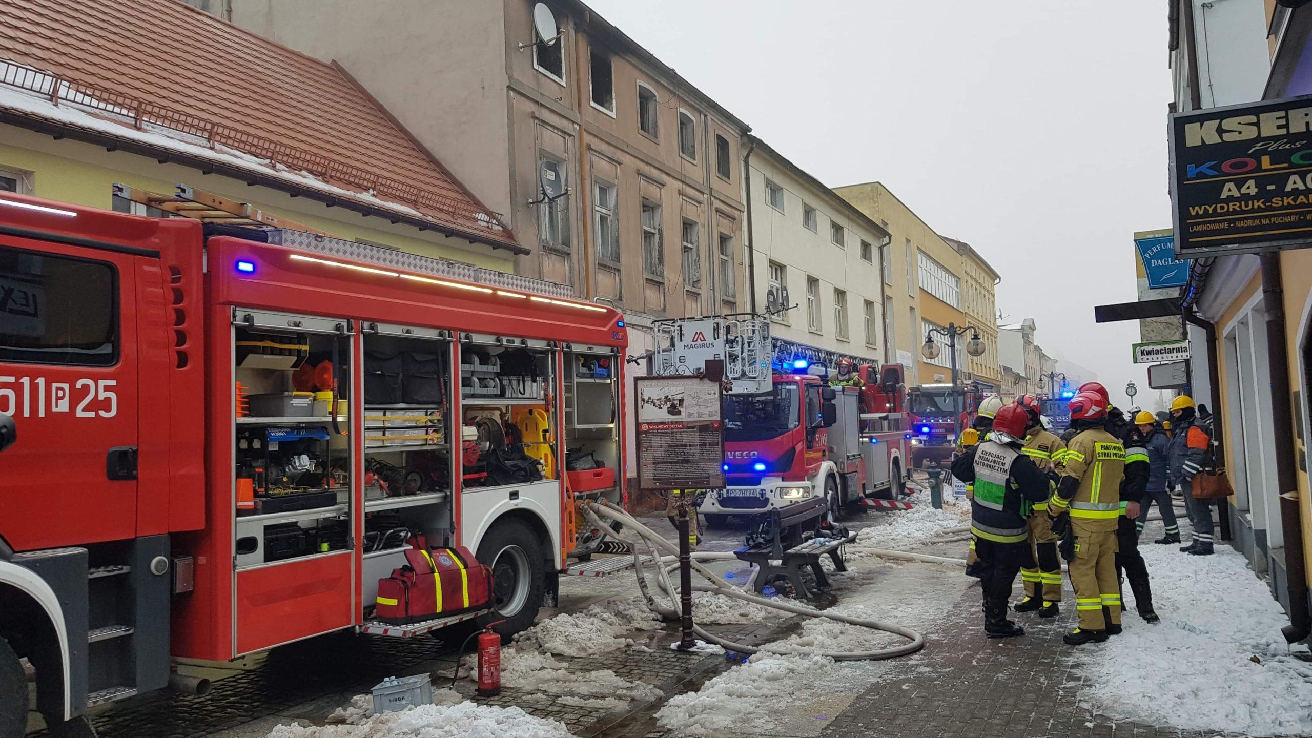 Pożar kamienicy przy ul.Mickiewicza w Nowym Tomyślu