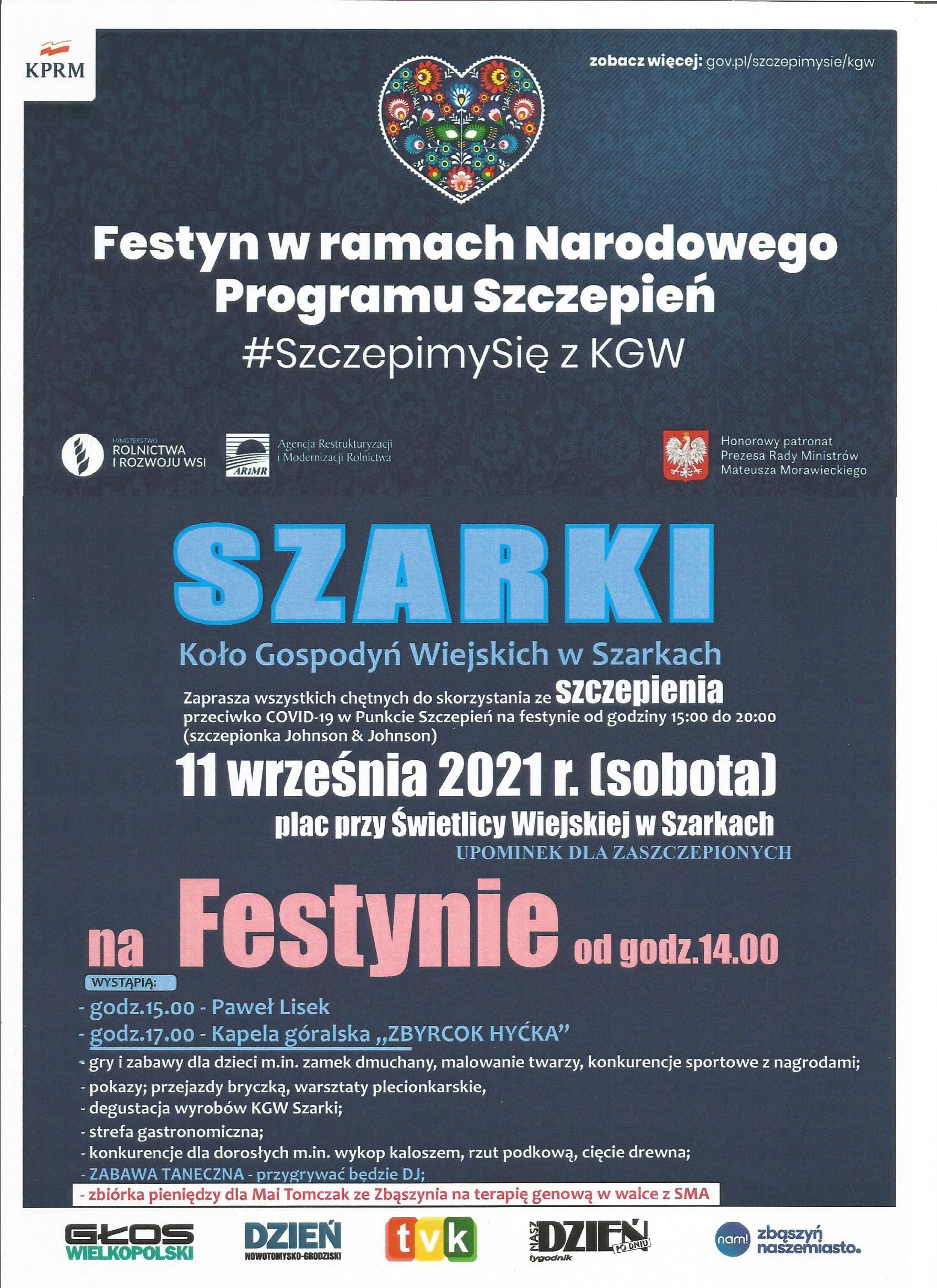 Festyn w Szarkach w ramach Narodowego Programu Szczepień